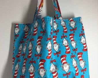 Kids reversible tote bag- made using Dr Seuss fabric