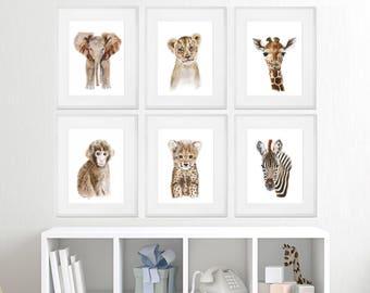 Baby Animal Framed Art - Framed Nursery Prints - Safari Nursery Art - Framed Baby Animal Prints - Framed Animal Art - Gold - Silver - White