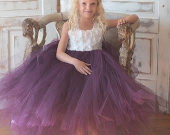 Flower girl dress - Tulle flower girl dress - Plum Dress - Tulle dress-Infant/Toddler - Pageant dress - Princess dress -White flower dress