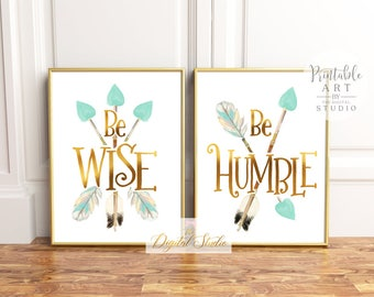 Woodland Nursery Printable Art, Baby Girl Printable Art, Woodland Wall Art, Boho Nursery Art, PRINTABLE ART, Mint and Gold Nursery Wall Art