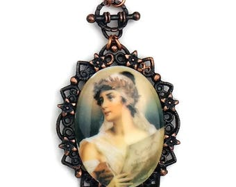 Grecian Lady, Grecian Woman, Cameo Necklace, Victorian Jewelry, Copper Necklace, Teal Blue, Blue, Pearl, Aqua, B'sue by 1928, 1928 Jewelry
