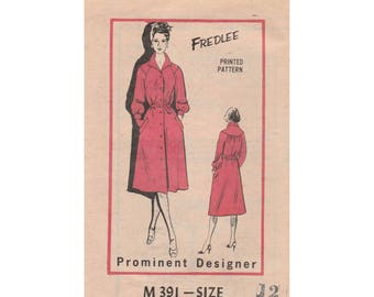 Women's Coat Dress Sewing Pattern by Fredlee, Misses' Size 12, Bust 34 Vintage 1970's UNCUT Prominent Designer M391