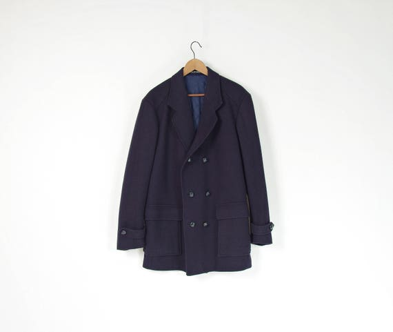 SALE! 70s Elson sailor style wool blended navy blue peacoat made in Sweden / size XL