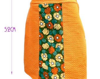 Sale skirt colorful woman flowers Patty T36/38 and orange Bi-material knee length skirt