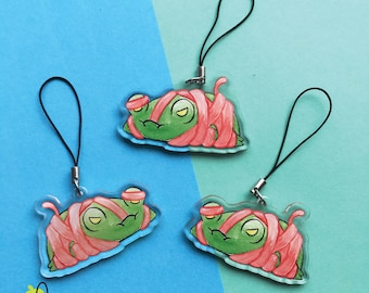 """Wrapped Floris the Frog   2"""" Clear Acrylic Double Sided Charm"""