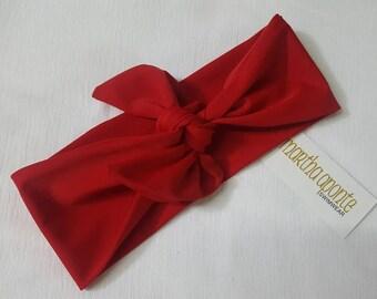 Cherry Red-Adjustable top knot headbands