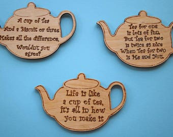 Teapot fridge magnet - inspirational quotes, poetry, tea lovers gift