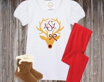 Monogrammed Christmas Outfit, Girls Christmas Outfit, Reindeer Shirt, Monogram Christmas Shirt Girls, Monogram Christmas Shirt
