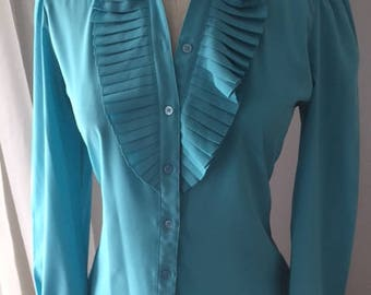 TEAL BLOUSE With Colar and Front Frill - 1960'S Style