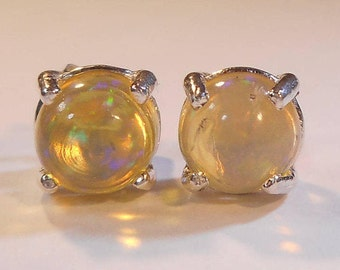 Natural Ethopian Fire Opal Stud Earrings|Jelly White Welo Opal Stud Earrings|6mm Sterling Silver Studs|October Birthstone Jewelry