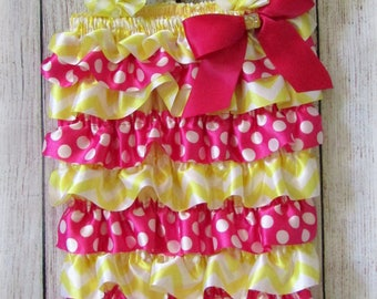 Cute Yellow Chevron & Pink Polka Dot Satin Ruffle Rompers Sizes S (about 0-6 months), M (about 9-18 months), or L (about 2T-3T)