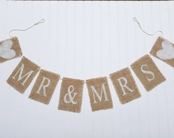 Mr & Mrs Banner - Burlap Banners - Wedding Banners - Wedding Decor - Bride and Groom Banner - Rustic Banners - Banners - Wedding Banners