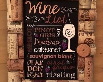 wine cork frame with wine list art - Wine Cork Picture Frame