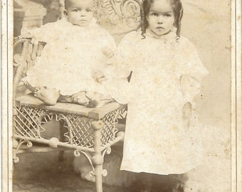 Vintage Cabinet photograph of Adorable Siblings
