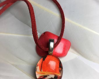 Red Abstract -Glass Pendant Necklace