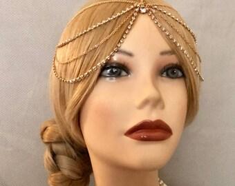 Vintage 20s Gold Goddess Headchain Grecian 1920s head chain headpiece piece 20's headband Crystal Rhinestone Metal Draped Wedding Bridal