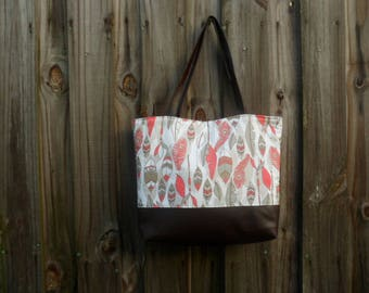 Feather Tote, Large Diaper Bag, Faux Leather Purse, Canvas Tote, Shoulder Bag, Overnight Bag