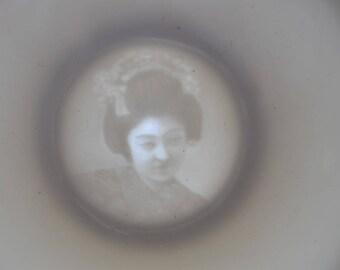 Vintage Japanese 2 x tea cups Geisha lithopane white japan
