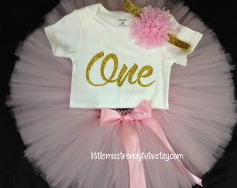Pink First Birthday Outfit, Girls Birthday Tutu, First Birthday Girl Outfit, Birthday Tutu, 1st Birthday Tutu Set, Pink 1st Birthday Tutu