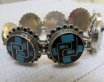 Vintage unusual yin yang Aztec Mexican inlaid sterling inlaid turquoise  & black link bracelet signed TO-68 FREE SHIPPING