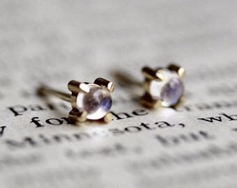 14K Moonstone Studs, Moonstone Jewelry, Moonstone Earrings, Minimal Jewelry, Tiny Studs, Prong Earrings, Post Studs