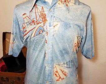 FREE  SHIPPING  1970  Nylon Abstract  Shirt