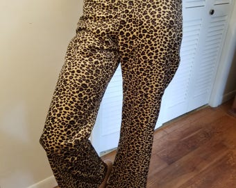 FREE  SHIPPING   Vintage  Leopard  Faux Fur  Pants