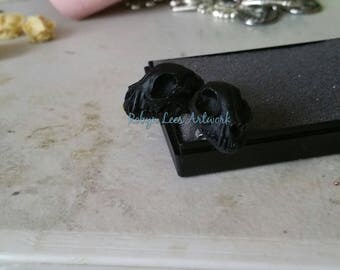 Small Black Resin Cat Kitten Skull Stud Earrings on Stainless Steel Posts & Butterfly Backs. Gothic, Victorian, Wiccan, Pagan, Costume