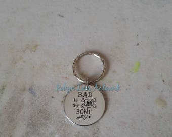 Bad To The Bone Engraved Stainless Steel Disc Keyring on Silver Split Ring or Bag Clip with Cute Skull & Heart and Arrow