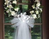 White Rose Wedding Door Wreath, Grapevine Wreath, Bridal Shower Wreath, Wedding Wreath, Floral Wreath, Church Decor