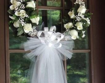 White Rose Wedding Door Wreath, Grapevine Wreath, Bridal Shower Wreath, Wedding Wreath, Floral Wreath