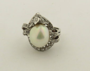 Vintage 14 kt Gold  Cultured Pearl (12 x 10 mm) & Diamond Ring / 6.