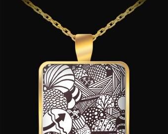 """Zentangle Necklace - B/W Tangle Art Necklace hand drawn by ZenJoanie - """"Illumination"""""""