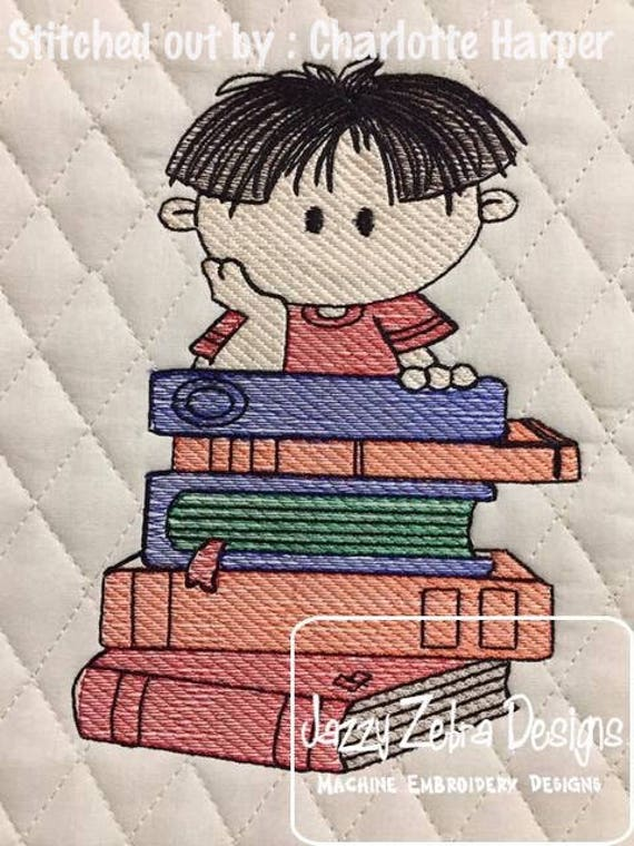 Boy with stack of books sketch embroidery design - boy embroidery design - reading embroidery design - school embroidery design - librarian
