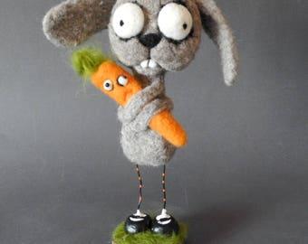 Malvin and his carrot,OOAK art doll,unique funny rabbit