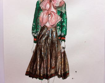 Gucci Runway Fashion Illustration Original Wall Art