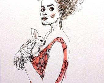 Harper's Bazaar Wonderland Fashion Editorial Illustration Original Wall Art