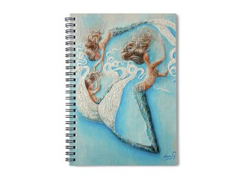 Mermaid family lined spiral writing journal, sister mermaid blank book, mermaid other and daughter. , Original art by Nancy Quiaoit.