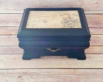Black Jewelry Box - Wood Jewelry Box - French Country Decor - Up Cycled - Eco Friendly - READY TO SHIP