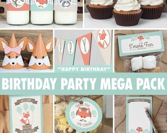 SALE Woodland Birthday Party Mega Pack // INSTANT DOWNLOAD // Mint & Coral Birthday Decorations // Deer Fox Raccoon // Printable Bp03