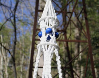 White Macrame Plant Hanger with Blue Wooden Beads