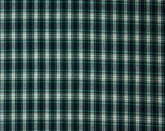 Small Classic Tartan Plaid-Blue-Green-White-Cotton-Light Weight