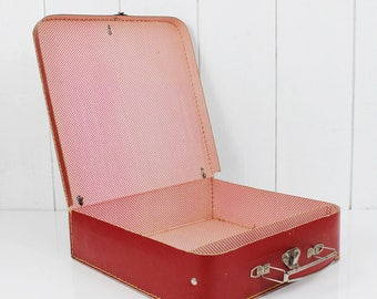Red vintage toy suitcase, old doll suitcase, vintage luggage, suitcase trunk box, retro suitcase decor, vintage kid suitcase - E134