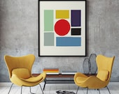 MCM03 - Mid Century Modern Geometric Colourful Squares Graphic Design Art Print Poster