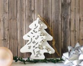 xmas decorations, tree decor white, wooden christmas tree, white christmas, glitter christmas ornaments, christmas signs wood, sparkly gift
