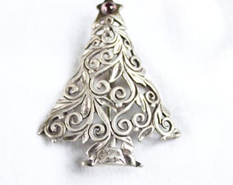 925 STERLING TREE PIN | Authentic Silver & Stone Deco Retro Vintage Brooch