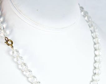 VTG CRYSTAL NECKLACE ϟ Elegant Faceted Crystal Simple Retro Jewelry