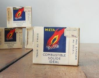 Lot de 4 boîtes de Méta pour décor uniquement, allume feu vintage, quincaillerie vintage, french vintage