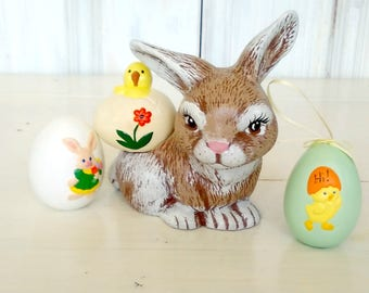 Ceramic Easter Bunny Planter/Vintage/Life Sized Small Bunny/Nicely Detailed Painted/Rabbit/Eggs Sold Separately/lindafrenchgallery