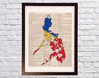 Philippines flag art print filipino american history month philippines dictionary art print manila art print on vintage dictionary paper filipino flag publicscrutiny Images